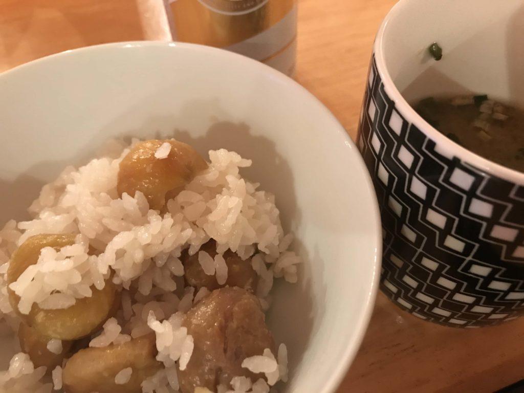 栗ご飯と味噌汁